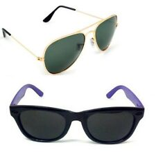 Men's Sunglasses Black Navy Blue wayfarer and Green Aviator Combo Free Shipping