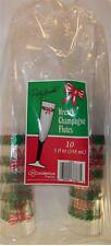 10 PACK 5oz WREATH CHAMPAGNE PLASTIC FLUTES party glasses holiday cups party H51
