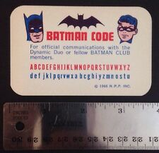 Vintage Original BATMAN Club Membership CODE Card + Crimefighter Pin - 1966 NPP