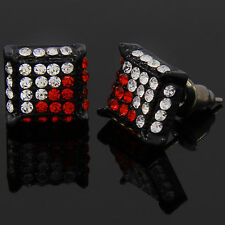Mens Black Red Cz Cube Iced Out Hip Hop Micro Pave Stud Earrings Bling