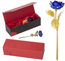 BLAU Goldene Rose Vergoldete Gold Hochzeitstag Geburtstag Jahrestag Geschenk TOP
