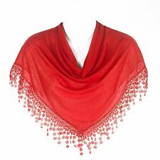 Stylish Triangle Bobbin Lace Fringed Ladies Scarf