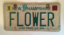 New Hampshire Vanity License Plate Vintage FLOWER Florist Garden Flowers