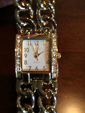 CACHE WOMENS FASHION GOLD WATCH WITH RHINESTONES
