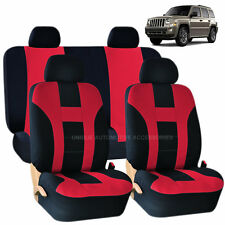 RED & BLACK DOUBLE STITCH SEAT COVERS 8PC SET for JEEP PATRIOT
