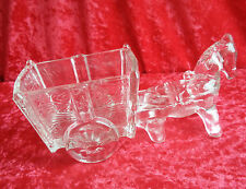 """Vide poche en verre pressé moulé """"cheval attelé à un chariot"""""""
