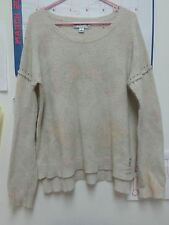 Wildfox light beige oatmeal S Small oversized sweater destroyed loose lennon