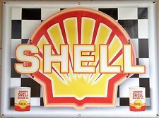 SHELL GAS SERVICE STATION NEON EFFECT PRINTED BANNER NEW GARAGE ART SIGN 3X4