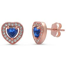 Rose Gold Plated Blue Sapphire & Pave Cz Heart .925 Sterling Silver Earrings