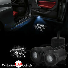 2x White Horse Logo Car Door LED Laser Projector Shadow Light For Ford Mustang