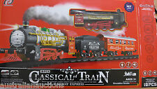 TOY TRAIN ENGINE SET CARRIAGES SOUND LIGHT MUSIC SMOKE & TRACK I