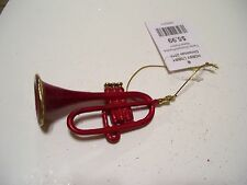 RED & GOLD TRUMPET MUSIC RESIN CHRISTMAS ORNAMENT DECORATIONS HOLIDAY