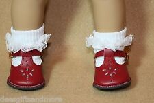 Doll Shoes fitting 18 inch American Girl Dolls Red T-Strap Shoe  & Lace Socks