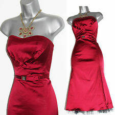 Karen Millen Exquisite Dark Red Satin Ballgown Strapless Cocktail Dress sz-14/42