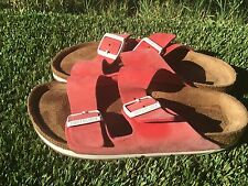 Womens  Birkenstock Arizona Classic Red Soft Footbed Sandals Sz 6 Or 37 Euro