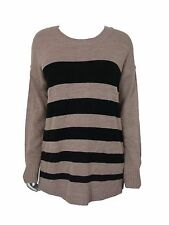 AGB Women's Striped Long Slv Faux Button Back Sweater Taupe & Black L