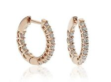 18ct Rose Gold Real Diamond Hoop Earrings 0.50ct G SI1