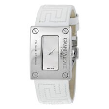 Versace V-Couture Vertical Silver Dial White Leather Ladies Watch 72Q99D999-S001