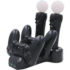 Quad Controller Charger Dock Station Stand for PS4 Playstation VR PSVR Move