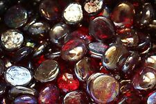 140 Pcs Large Iridescent Ruby Red Glass Gems, Pebbles, Mosaic Tiles, Nuggets
