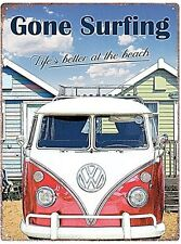 "Volkswagen Camper ""Gone Surfing..."" metal sign  400mm x 300mm (rh)"