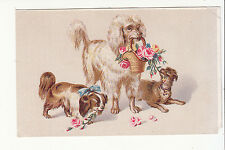 Poodle Dogs Basket of Roses No Advertising Vict Card c 1880s