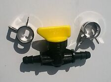"""PLASTIC INLINE TAP AND 2 CLAMPS- 1/4"""" Barbs either end suits 1/4"""" I.D fuel line"""