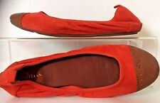 Cole Haan Nike Air Orange Suede Brown Leather Cap Toe Ballet Flats Shoes 8.5 B