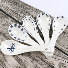 5pcs Creative Spoons White Porcelain Patterned Asian Ceramics Chinese Soup Spoon