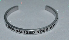 Personalized Your Way Outside & Inside / Engraved, Polished Bracelet + Gift Bag