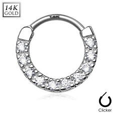 14K Solid WHITE GOLD Paved Gems SEPTUM RING Nose Clicker Hanger Piercing Jewelry