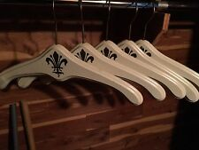 5 Vintage Antique Stenciled Heavy Wooden Hangers Large Wood White With Gold Trim