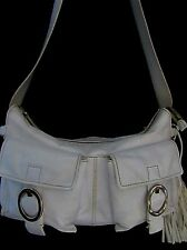 FRANCESCO BIASIA White Leather Cargo Style Shoulder Bag Hobo Purse w/Tassels