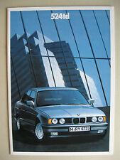 Prospekt BMW 524td E34 115 PS Limousine Modelljahr 1988 1989 deutsch