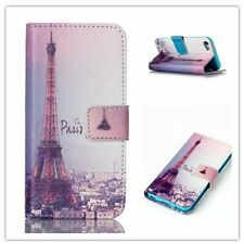 for iPod Touch 5th / 6th Gen BLUE PARIS EIFFEL TOWER Leather Card ID Wallet Case
