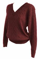 New Women ladies stunning knitted cable v neck burgundy jumper top sz 12