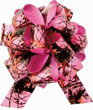 NEXT PINK CAMOUFLAGE POLYPROPYLENE GIFT RIBBON LARGE PULL BOW - 8""