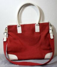 "ESTEE LAUDER Orange Canvas Bag 12"" x 14"" Snap Top Handle & Strap GREAT Condition"