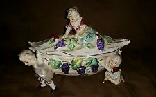 Vintage Colonial Children Carrying a Fruit Leaf Rare Intricate Pottery Piece