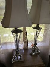 Set Of 2 Crystal & Silver Lamps
