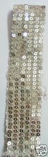 Silver Sequins Embroidery on Silver Base Border Lace - 2 meter