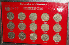 Queen Elizabeth II Sixpences 6d 1953-1967 Sixpence Coin Gift Set in Display Case