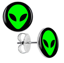 High Quality 7mm Black & Green Alien Stud Earrings Space Raiders UFO ET Gift UK