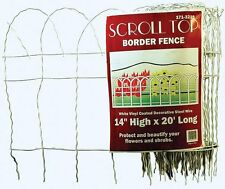 "14""H x 20'W Roll White Wire Scroll Top Border Garden Fence! Accent Flower Arch"