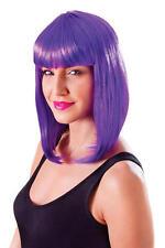 Onorevoli Lunghezza Spalla Neon Viola Parrucca & Frangia Lady Gaga Cyber FANCY DRESS