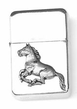 Horse Running Emblem Windproof Petrol Lighter FREE ENGRAVING Personalised Gift