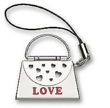 New Silver Handbag LOVE Message Purse Hearts Cell Phone Charm Free Shipping Gift