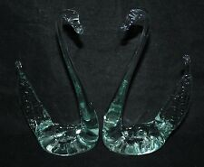 A Pair of Handmade Glass Swan Ornaments - vgc