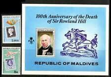 Maldives Island 1979 MNH SS+2v, Rowland Hill, Stamps on Stamps, Black Penny