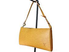 Authentic LOUIS VUITTON Pochette Accessoires Yellow Epi Leather Hand Bag LS0495